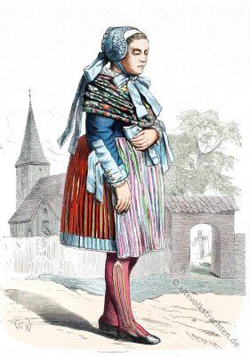Alte Pommern Tracht. Deutsche Volkstrachten. Traditionelles Polen Kostüm.