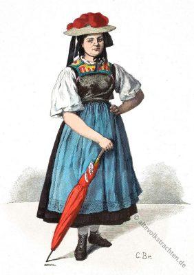 Gutachtal, Tracht, Volkstrachten, Schwarzwald, Bauernmädchen, Sonntagstracht, Bollenhut, Historische Kleidung,