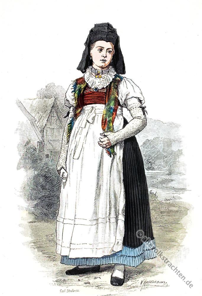 Brotteroder Tracht, Brotterode, Thüringen, traditionelle Thüringer Trachten, historische Kostüme, Modegeschichte, Kostümgeschichte, Bauernmädchen, Bäuerin,