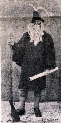 Haberfeldtreiben. Haberfeldmeister,Thomas Bacher, Amtstracht, Brauchtum, Sühnegericht