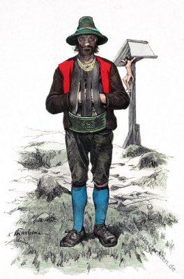 Bauerntracht, Schönna, Meran, Südtirol, Südtiroler Trachten, Volkstrachten, historische Kleidung, Modegeschichte, Kostümgeschichte,