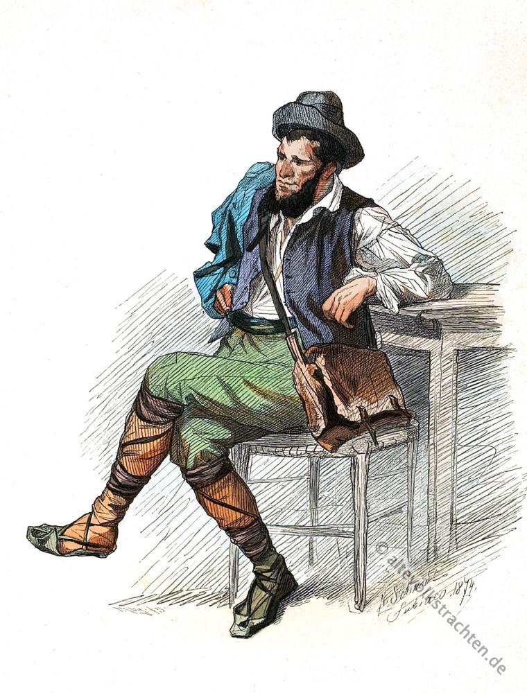 Ciocciarìa, Italien, Ciocie, Campagna Romana,Frosinone, Lazio, Volkstrachten, historische Kleidung, Modegeschichte, Kostümgeschichte, Lipperheide