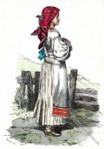 Kroatisches Bauernmädchen in traditioneller Tracht.