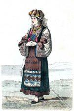 Morlachisches Mädchen im Brautkleid aus Istrien um 1847.