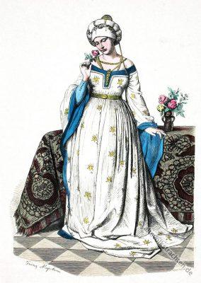 Renaissance Kleidung. Henin. Gotisches Kostüm. Burgunder Mode.
