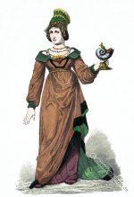 Vornehme deutsche Frau in Renaissance Kostüm. Um 1480.