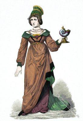 Mittelalter Gewandung. Schaube, Cotte. Gotik Kostüm. Bekleidung und Mode im 15. Jahrhundert.
