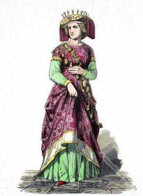 Schellentracht. Mittelalter Kleidung. Cotte. Kostüm der Gotik. Burgunder Hoftracht.
