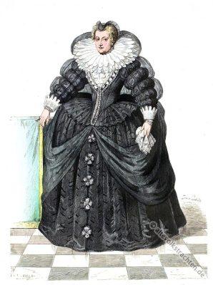 Maria von Medici. Renaissance Mode. 17. Jahrhundert Kostümgeschichte.