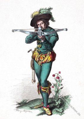 Historisches Barock Kostüm. Scheibenschütze. Kleidung eines Armbrustschützen.
