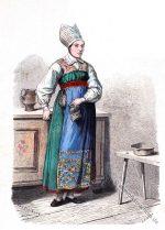 Frau in historischer Tracht aus West-Wingaker Schweden.