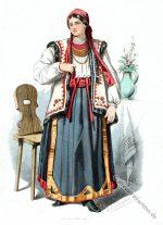 Ruthenische Bäuerin aus Marmitas, Ukraine.