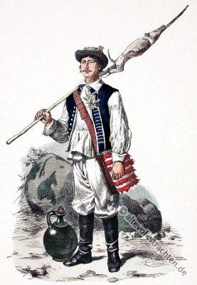 Traditionelle kroatische Bauerntracht. Alte Kroatien Tracht. Historisches Kostüm aus Istrien.