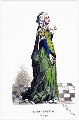Burgund, Mittelalter, Gewand, Kostümgeschichte, Modegeschichte, Kostüm,