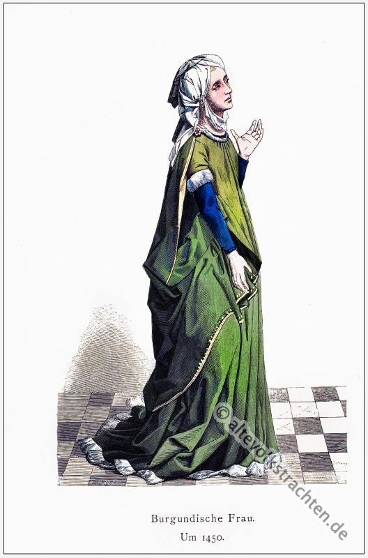 Burgundische Frau, Renaissance, Historische Kleidung, Kostümgeschichte