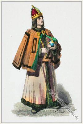 Deutscher Fürst in Renaissance Kostüm. Bekleidung und Mode im 15. Jahrhundert.