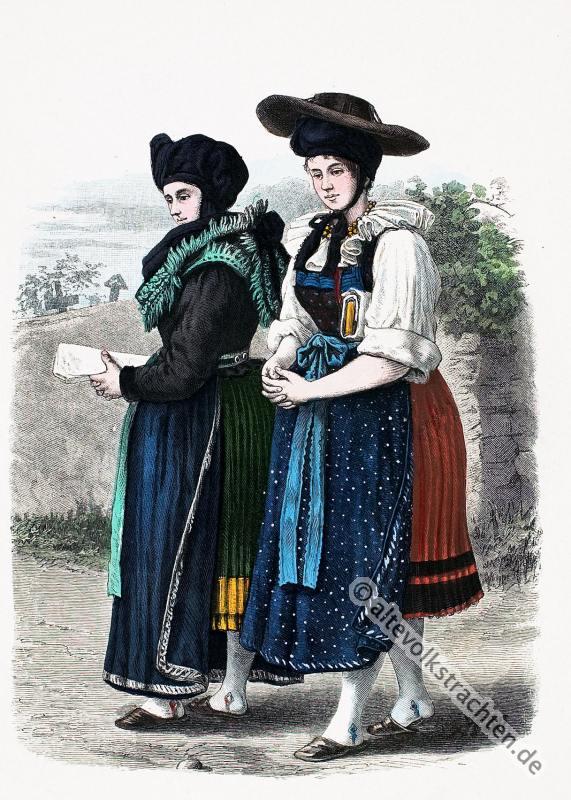 Wendische Bäuerinnen, Tracht, Kreise Lebus, Volkstrachten, Mark Brandenburg, Norddeutschland, Historische Kleidung