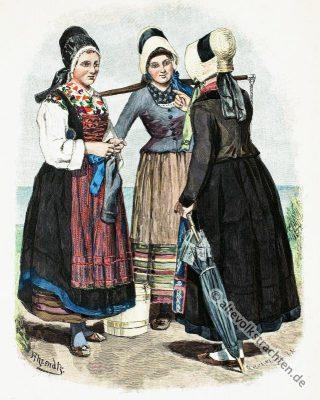 Alte Rügen Tracht. Historisches Fischer Kostüm. Alte Mecklenburg-Vorpommern Trachten. Deutsche Volkstrachten.