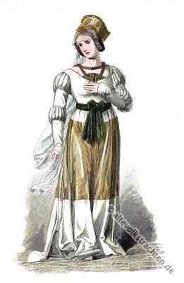 Vornehme, Frau, 15. Jahrhundert, Modegeschichte, Mittelalter, Gewandung, Tracht