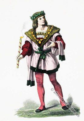 Vornehmer, Adel, Gewandung, Mittelalter, Modegeschichte, Kostümgeschichte, 15. Jahrhundert