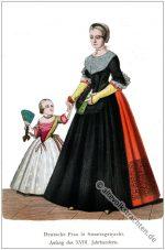 Deutsche Barock Mode. Frau und Kind in Sonntagstracht.