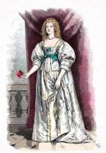 Gräfin von Devon in Barock Kostüm, 17. Jahrhundert.