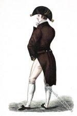 Englischer Herr in voller Regency Garderobe, 1814.