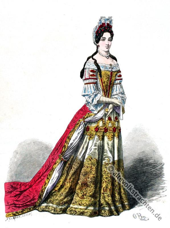 Edeldame, Barock, Kostüm, Frankreich, Louis XIV