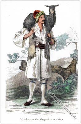 Traditionelle Griechenland Tracht. Hirtenkostüm. Griechische Volkstrachten