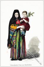 Griechische Frau in traditioneller Tracht aus Bethlehem.