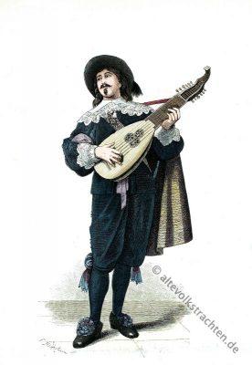 Alte Holland Tracht. Lautenspieler Kostüm. Barock Kostümgeschichte