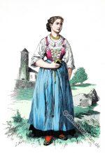 Mädchen in alter Tracht aus Schönna bei Meran, Südtirol.