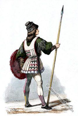 Italien Renaissance Kostüm. Renaissance Soldat. Kostümgeschichte 27. Jahrhundert.