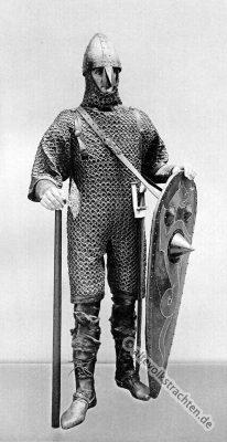 кольчуга, рисунок, Kettenpanzer, Ritter, Mittelalter, Ritterrüstung, 11. Jahrhundert, Rüstung, Schwert, Streitaxt