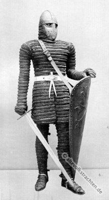 Ritter Kostüm. Mittelalter Ritterrüstung. 12. Jahrhundert Soldat. Rüstung, Schwert und Schild.