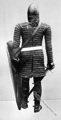 Ritter Kostüm. Mittelalter Ritterrüstung. 11. Jahrhundert Soldat. Rüstung, Schwert und Schild.