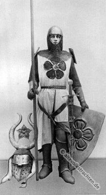 Mittelalter Ritterkostüm. Kettenpanzer, Ringelpanzer. Brünne. 13. Jahrhundert Soldat