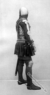 Lendner. Mittelalter Ritter. Ritterrüstung. 14. Jahrhundert Soldat. Haubert. Camail.