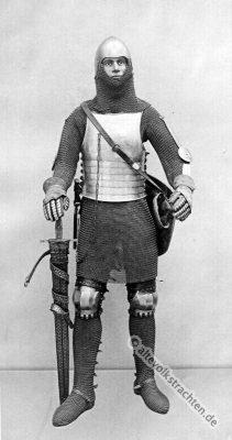Lendner. Mittelalter Ritter. Ritterrüstung. 14. Jahrhundert Soldat. Haubert. Camail. Langschwert