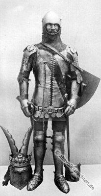 Turnierhelm Lendner. Mittelalter Ritter. Ritterrüstung. 15. Jahrhundert Soldat.