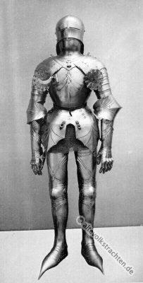 Harnisch. Plattenharnisch. Ritter Kostüm. Mittelalter Ritterrüstung. 15. Jahrhundert Soldat. Rüstung