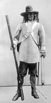 Schütze, Patronentasche, Gewehr mit Feuersteinschloss. Soldat Uniform des Barock