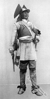 Bewaffneter Reiter. Kavallerie. Pistole mit Feuersteinschloss. Soldat des Barock.