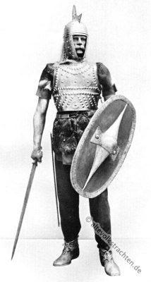 Kostüm Gallischer Krieger. Antike Gallier Kostüme. Soldat der Antike Bekleidung.
