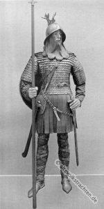 Krieger aus der karolingisch-fränkischen Periode. Mittelalter 9. Jahrhundert