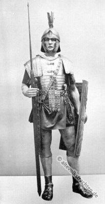 Römischer Legionär Kostüm. Soldaten der Antike Bewaffnung und Bekleidung.