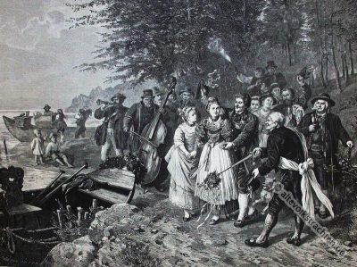 Alte Hochzeitstracht Oberbayern. Bayerische Dirndl. Biedermeier Kostüme.