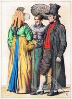 Allgäuer Trachten bei Kempten. Um 1840.