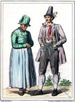 Oberbayerische Trachten vom Schliersee, Jachenau um 1847.