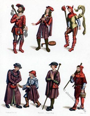 Mittelaltliche Bekleidung. Kerkermeister, fahrende Spielleute (Jongleure), Narrenkostüme. Kleidung eines Bürgerlichen, Bettlerkostüm, Pilgerkostüm, Schäferkostüm.